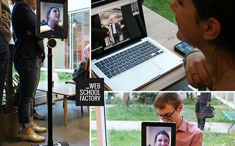 Téléprésence robot Double école web school factory